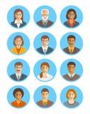Uppsättning för avatars för vektor för affärsfolk stock illustrationer
