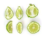 Uppsättning för bästa sikt av Bergamotfrukt på vit bakgrund fotografering för bildbyråer