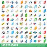 uppsättning för 100 b2b-symboler, isometrisk stil 3d Arkivbild