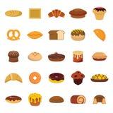Uppsättning för bageri- och bakelseproduktsymboler Royaltyfri Foto