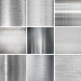 Uppsättning för bakgrunder för metallplattor texturerad Royaltyfri Fotografi