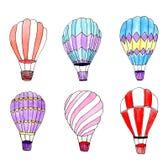 Uppsättning för ballonger för varm luft för vattenfärg isolerade designelement stock illustrationer