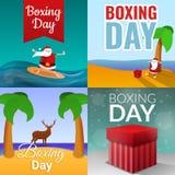 Uppsättning för baner för boxningdag, tecknad filmstil royaltyfri illustrationer