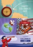 Uppsättning för baner för Columbus dag, tecknad filmstil royaltyfri illustrationer