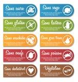 Uppsättning för baner för etikett för information om matnäring stock illustrationer