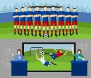 Uppsättning för baner för fotbolllag 2 plan Arkivfoton
