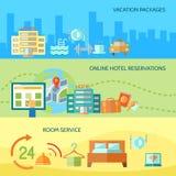 Uppsättning för baner för hotellservice Arkivbilder