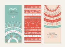 Uppsättning för baner för klotter för ferie för nytt år för glad jul royaltyfri illustrationer