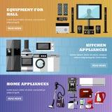 Uppsättning för baner för lager för konsumentelektronik också vektor för coreldrawillustration Designbeståndsdelar i plan stil He royaltyfri illustrationer