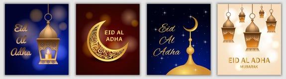 Uppsättning för baner för festival för Eid aladha, realistisk stil vektor illustrationer
