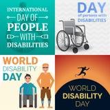 Uppsättning för baner för handikapp för världsdagpersoner, tecknad filmstil stock illustrationer