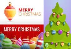 Uppsättning för baner för leksaker för julgranträd, tecknad filmstil royaltyfri illustrationer