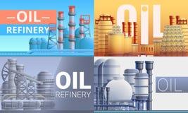 Uppsättning för baner för raffinaderiväxt, tecknad filmstil stock illustrationer