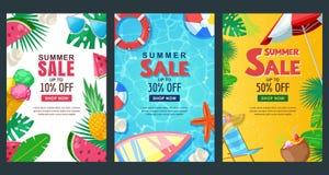 Uppsättning för baner för sommarförsäljning vertikal Mall för vektorsäsongaffisch tropiska bakgrunder royaltyfri illustrationer