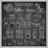 Uppsättning för Barista kaffehjälpmedel exponeringsbärbar datorlampa skissar stil Svart tavlabakgrund vektor illustrationer