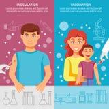 Uppsättning för barn- och vuxen människavaccineringbaner Arkivfoton