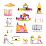 Uppsättning för barnlekplatsbeståndsdelar stock illustrationer