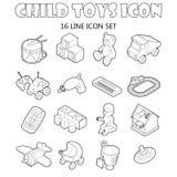 Uppsättning för barnleksaksymboler, översiktsstil vektor illustrationer