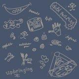 Uppsättning för barnomsorgklottersymbol på blått Royaltyfria Foton