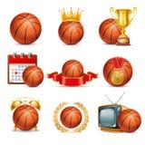 Uppsättning för basketbollsymbol Arkivbilder