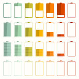 Uppsättning för batteriets livslängdvektorsymboler Fotografering för Bildbyråer