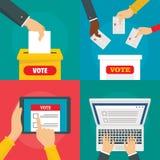 Uppsättning för begrepp för baner för sluten omröstningröstningask, lägenhetstil royaltyfri illustrationer
