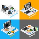 Uppsättning för begrepp för grafisk design isometrisk vektor illustrationer