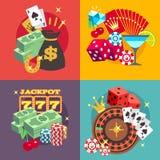 Uppsättning för begrepp för kasinodobblerivektor med symboler för lägenhet för segerpengarjackpott Royaltyfria Bilder