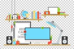 Uppsättning för begrepp för kontorsarbetsplatsdesign med bokhyllor och kopp kaffe på skrivbordvektorillustration Dator lampa Arkivfoton