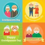 Uppsättning för begrepp för morförälderdagfarmor, lägenhetstil stock illustrationer