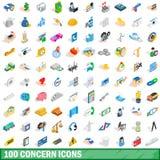 uppsättning för 100 bekymmersymboler, isometrisk stil 3d Arkivbilder