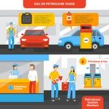 Uppsättning för bensinstationarbetarbaner Arkivbilder