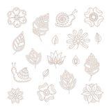 Uppsättning för beståndsdelar för blom- design för vektortappning i den mono linjen stil vektor illustrationer