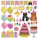 Uppsättning för beståndsdelar för parti för lycklig födelsedag Arkivfoton