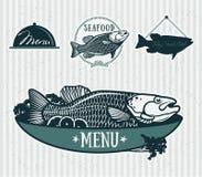Uppsättning för beståndsdelar för restaurangmenydesign Royaltyfria Bilder