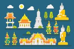 Uppsättning för beståndsdelar för Thailand tempel infographic Arkivbild