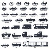 Uppsättning för bil-, motorcykel- och kollektivtrafiktypsymboler Titelmodellmoto, bil royaltyfri illustrationer