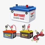 Uppsättning för bilbatteri Förklädekabel - illustration Fotografering för Bildbyråer