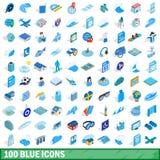 uppsättning för 100 blå symboler, isometrisk stil 3d Arkivfoton