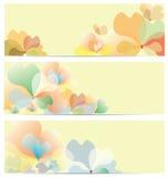 Uppsättning för blommabanerbakgrund Arkivbilder