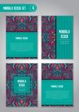 Uppsättning för blommamandaladesign dekorativ elementtappning Arkivbild