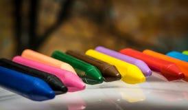 Uppsättning för blyertspennafärgpennavax Arkivfoto