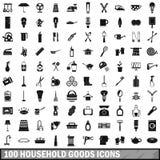 uppsättning för 100 bohagsymboler, enkel stil stock illustrationer