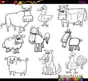 Uppsättning för bok för färgläggning för lantgårddjur Royaltyfri Bild