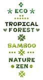 Uppsättning för bokstäver för Eco naturtema royaltyfri fotografi