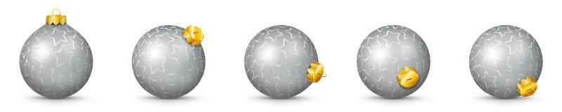 Uppsättning för bollar för silvervektorjul med textur - struntsaker X-Mas vektor illustrationer