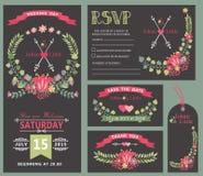Uppsättning för bröllopinbjudanmall Blom- kransdekor Arkivfoton