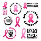 Uppsättning för bröstcancermedvetenhetvektor Affischdesign Slaglängdrosa färgband Oktober är cancermedvetenhetmånaden royaltyfri illustrationer
