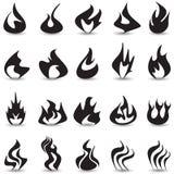 Uppsättning för brandflammasymboler Arkivfoto