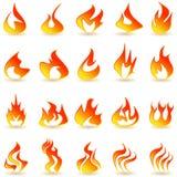 Uppsättning för brandflammasymboler Arkivfoton
